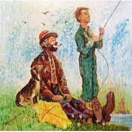 "Oil painting on canvas by Beniamino Ajroldi ""The kite"""