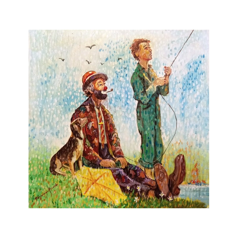 "Dipinto olio su tela di Beniamino Ajroldi ""L'aquilone"""