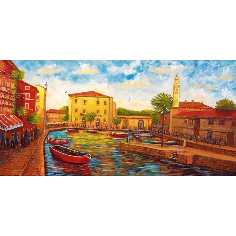 """Oil painting on canvas by Riccardo Bellotto """"Lazise the port with the Customs"""""""