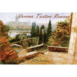 "Magnet in oleography by Riccardo Bellotto ""Verona seen from the Roman Theater"""