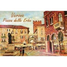 """Magnete in oleografia di Riccardo Bellotto """"Verona - Veduta di Piazza delle Erbe"""""""