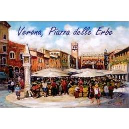 """Magnete in oleografia di Riccardo Bellotto """"Verona - Mercato in Piazza delle Erbe"""""""