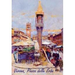 "Magnet in oleography by Riccardo Bellotto ""Verona - the Obelisk in Piazza delle Erbe"""