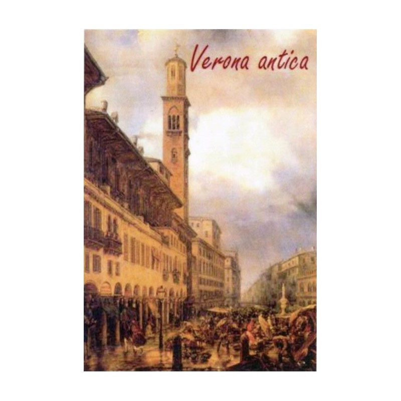 "Magnet in oleography by Riccardo Bellotto ""Verona - Lamberti Tower in Piazza delle Erbe"""