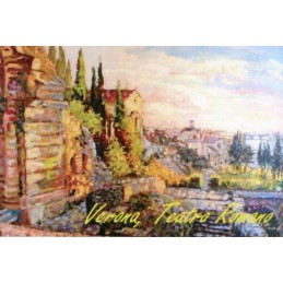 "Magnet in oleograph by Riccardo Bellotto ""Verona - Panorama from the Roman Theater at sunset"""