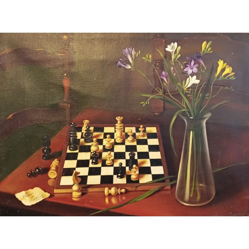 """Oil painting on jute canvas by Remo Lobbio (1926 + 2014) """"Interrupted game (Venice 1969)"""""""