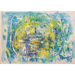 """Dipinto olio su tela di Francesco Alessandro Anciani """"Ristorante sul fiume Mincio a Peschiera del Garda"""""""