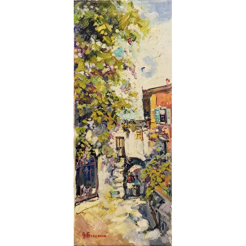 "Oil painting on canvas by Annalisa Girlanda ""Corner of Lake Garda"""