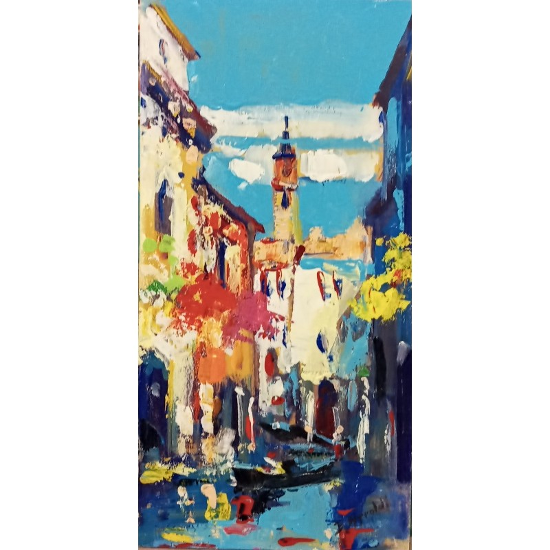 "Dipinto olio su tavola di Beniamino Ajroldi ""Venezia Ponte di Rialto"""