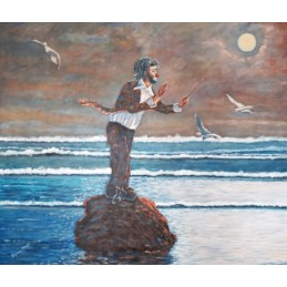 "Oil painting on canvas by Beniamino Ajroldi ""The director of the ocean"""