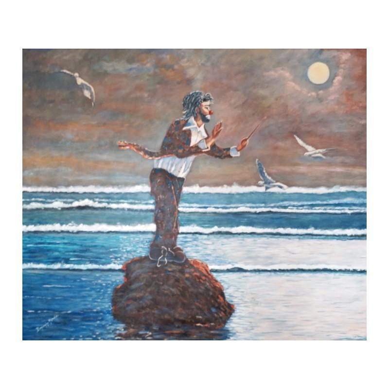 """Dipinto olio su tela di Beniamino Ajroldi """"Il direttore dell'oceano"""""""