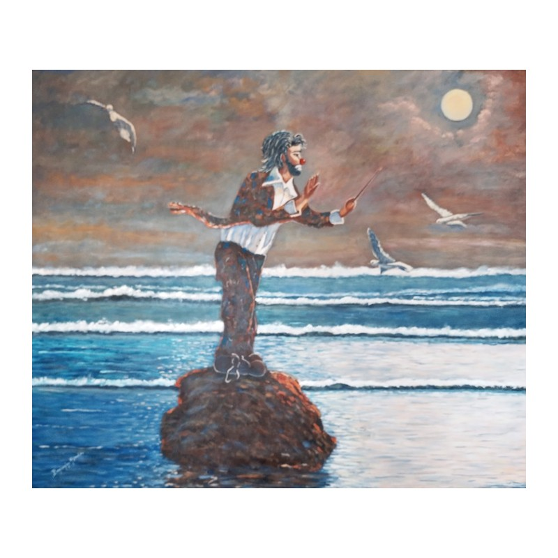 """Oil painting on canvas by Beniamino Ajroldi """"The director of the ocean"""""""