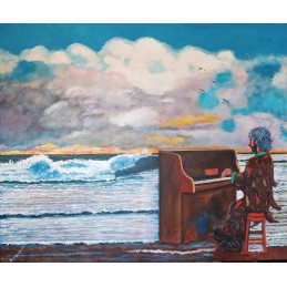 "Oil painting on canvas by Beniamino Ajroldi ""The pianist of the ocean"""