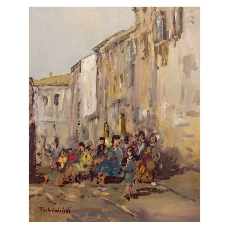 """Dipinto olio su tela di Paolo Gabrielli """"Calle Veneziana"""""""