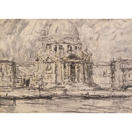 """Dipinto ad olio su tela di Giuseppe (Bepi) Marino 1903+1975 """"Venezia Madonna della Salute - 1959)"""""""