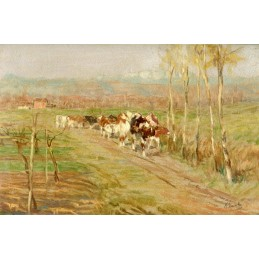 "Oil painting on wood by Marcello Vianello  (1 909 + 1985) ""Transhumance (1968)"""