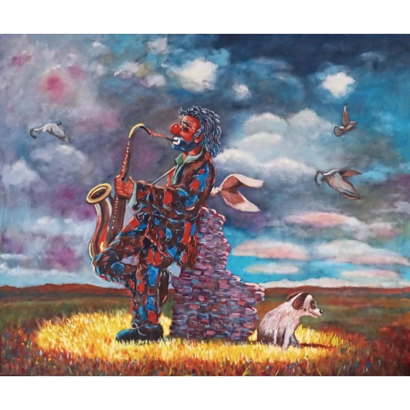 "Dipinto olio su tela di Beniamino Ajroldi ""Sassofonista solitario"""