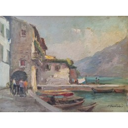 "Oil painting on wood by Piero Fantini (1904 + 1974) ""Limone sul Lago di Garda (1966)"""