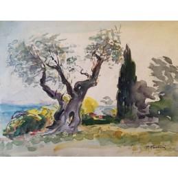 """Dipinto ad acquerello di Piero Fantini (1904+1974) """"Ulivi sul Lago di Garda (1967)"""""""