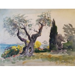 "Watercolor painting by Piero Fantini (1904 + 1974) ""Olives on Lake Garda (1967)"""