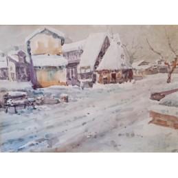 """Dipinto ad acquerello di Angelo Resi (Verona1904) """"Nevicata in Lessinia (1981)"""""""
