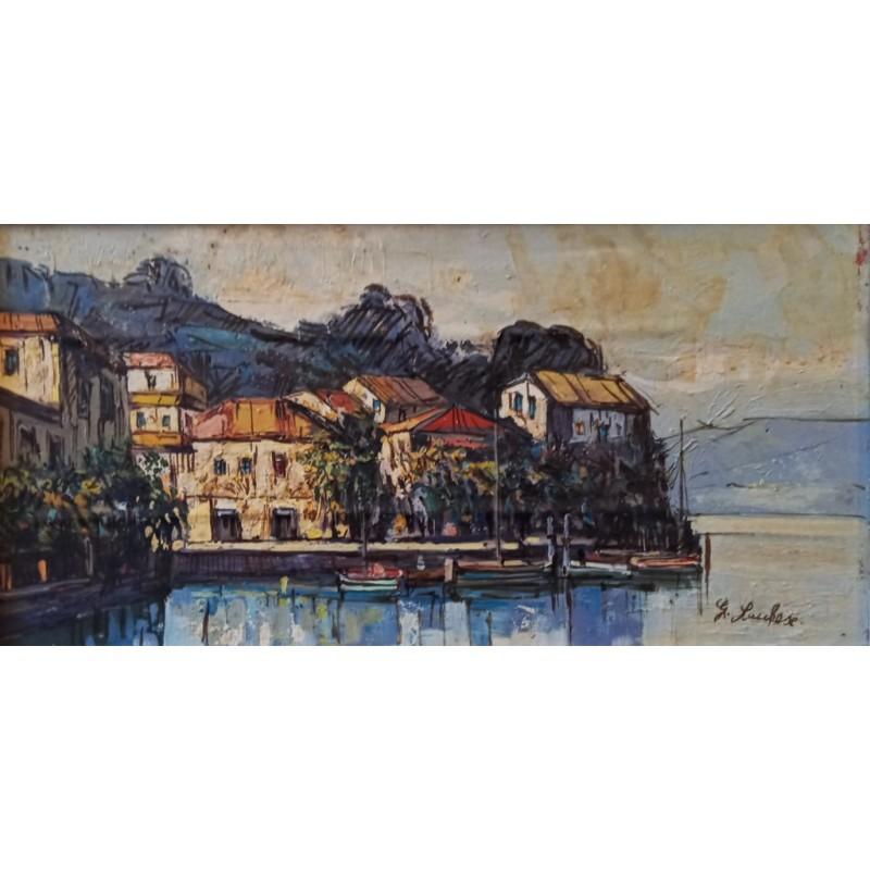 """Dipinto olio su tavola di Gianni Lucchese """"Porto di Malcesine sul Garda (1978)"""""""