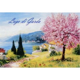 "Magnet in oleography by Beniamino Ajroldi ""Peach tree in bloom on Lake Garda"""