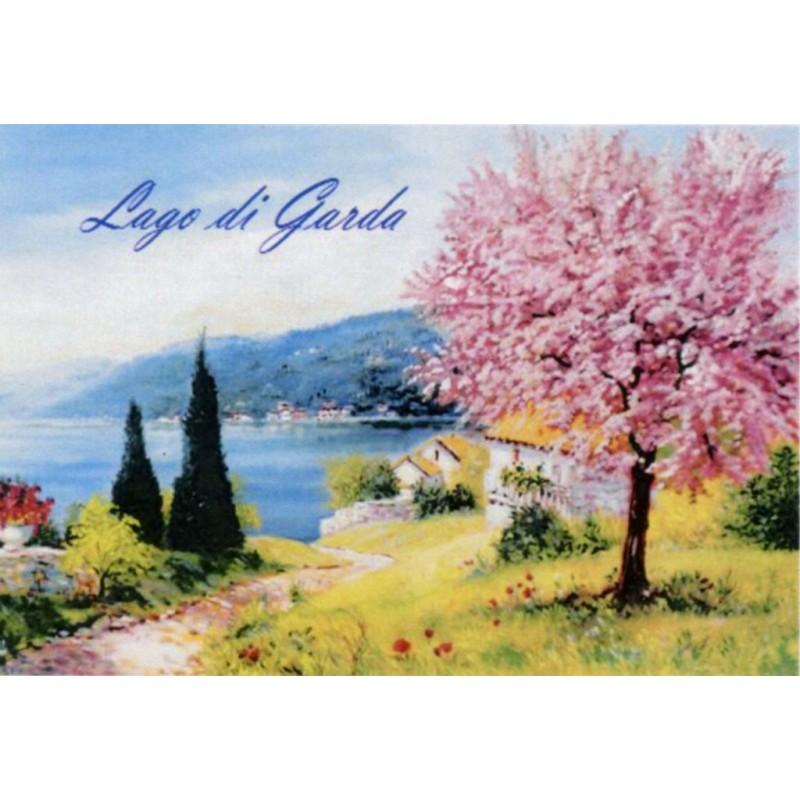 "Magnet in oleography by Beniamino Ajroldi ""Peach tree in bloom on Lake Garda"""