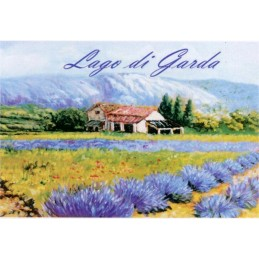 "Magnet in oleography by Beniamino Ajroldi ""Expanse of lavender on Lake Garda"""