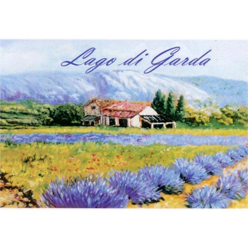 "Magnet in oleography by Beniamino Ajroldi ""Expanse of lavender on Lake Garda"""