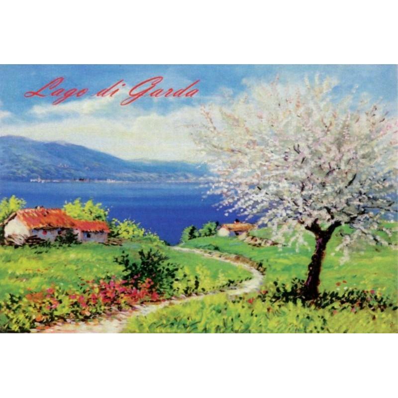 "Magnet in oleography by Beniamino Ajroldi ""Cherry blossom on Lake Garda"""