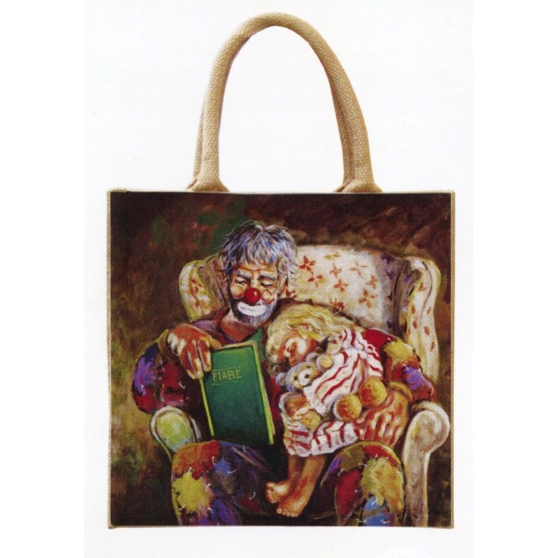 """Jute bag in oleography by Beniamino Ajroldi """"Grandfather's fairy tales"""""""