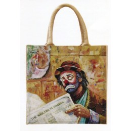 "Jute bag in oleography by Beniamino Ajroldi ""Financial News"""