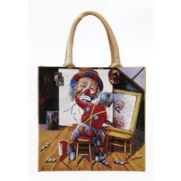 "Jute bag in oleography by Beniamino Ajroldi ""In search of myself"""