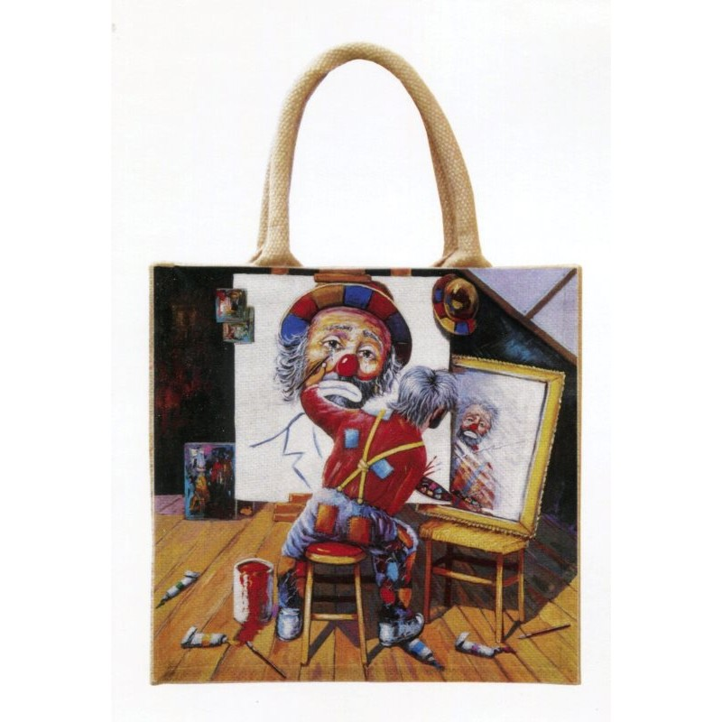 """Jute bag in oleography by Beniamino Ajroldi """"In search of myself"""""""