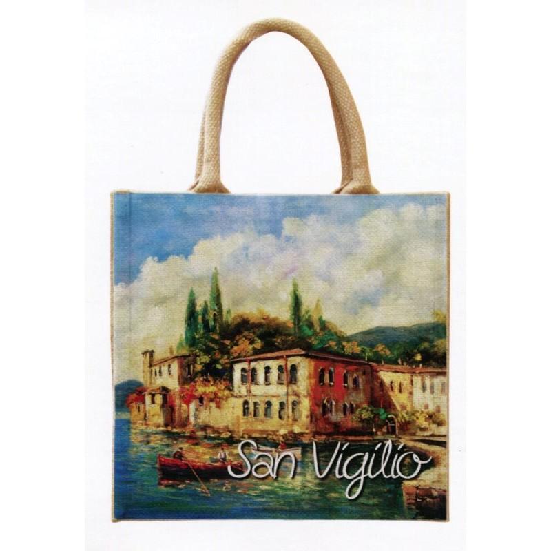 """Jute bag in oleography by Riccardo Bellotto """"Punta San Vigilio del Garda"""""""