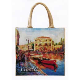 "Jute bag in oleography by Riccardo Bellotto ""Port of Lazise sul Garda"""