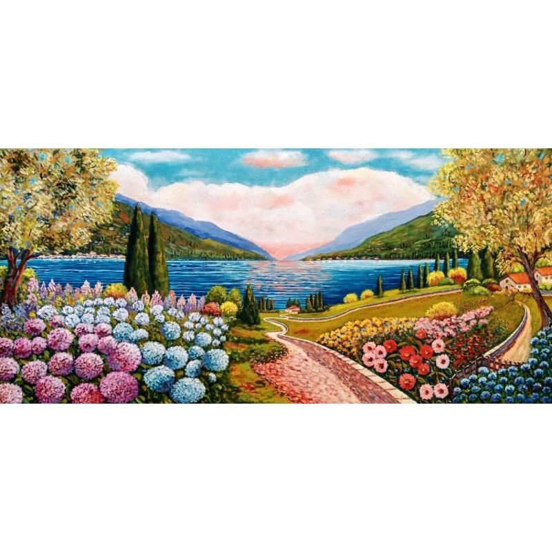 """Dipinto olio su tela di Beniamino Ajroldi """"Ortensie in riva del Lago di Garda"""""""