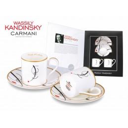 "Set di due tazze in porcellana di Vasily Kandisky  ""Curva libera al punto."""