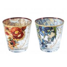 """Set di 2 bicchieri da whisky in vetro con immagini in serigrafia di Vincent Van Gogh """"Girasoli e Iris"""""""