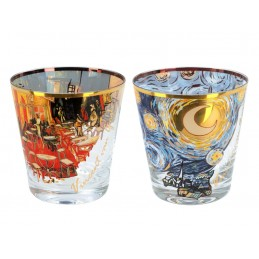 "Set of 2 glass whiskey glasses with Vincent Van Gogh silkscreen images ""Starry Night + Café terrace at night"""