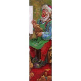 "Rectangular bookmark by Beniamino Ajroldi ""Christmas preparations"""