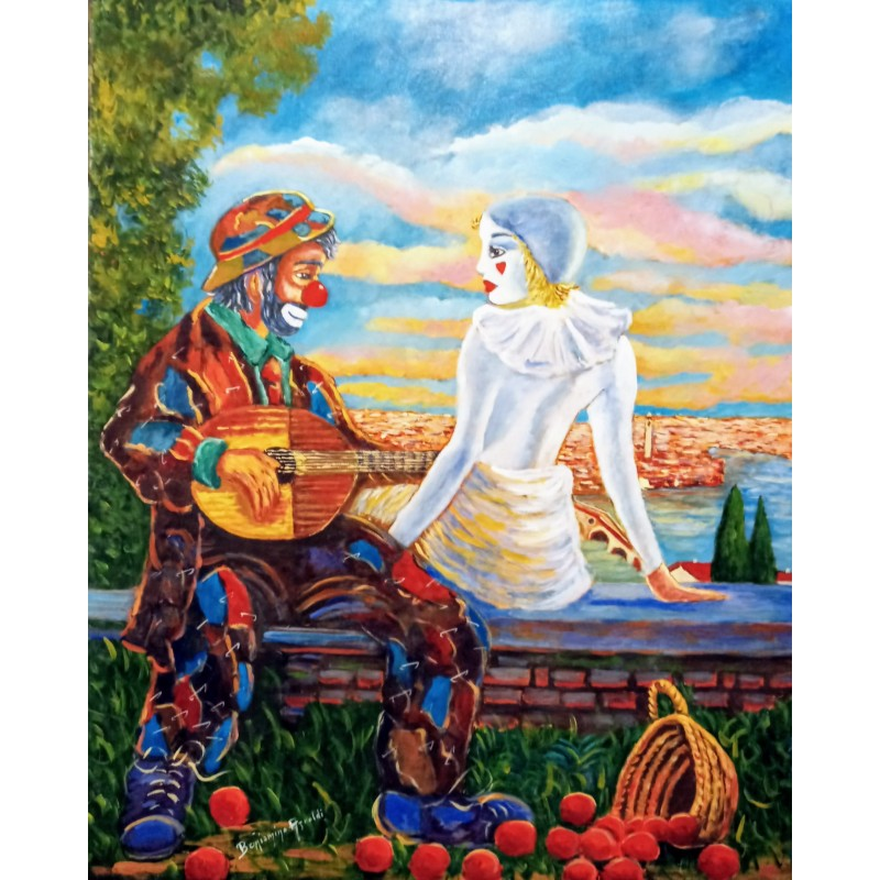 """Oil painting on canvas by Beniamino Ajroldi """"Fall in love again in Verona"""""""
