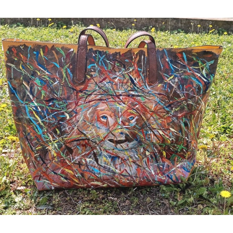 "Woman's bag hand painted by Annalisa Girlanda ""The sky in the eyes"""