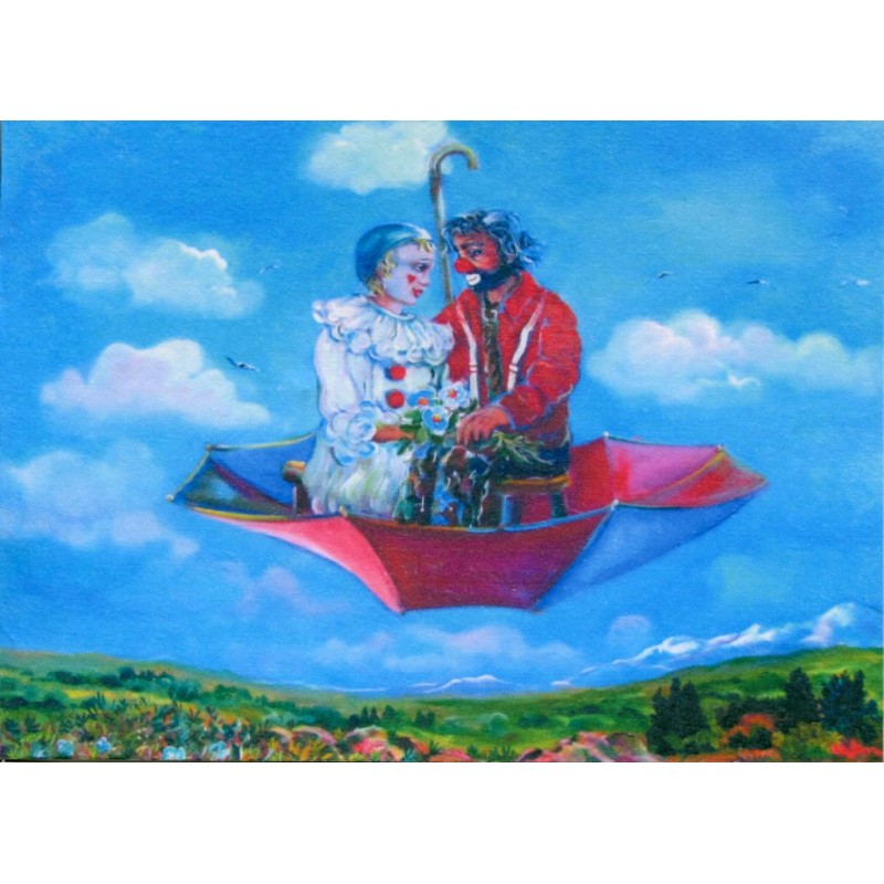 "Art postcard of Beniamino Ajroldi in oleography on cardboard ""Honeymoon"""