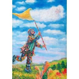 "Art postcard of Beniamino Ajroldi in oleography on cardboard ""Butterfly in love"""
