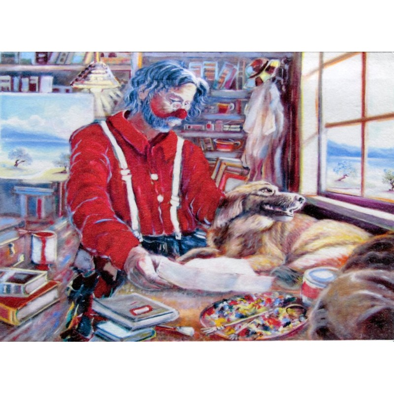 "Art postcard of Beniamino Ajroldi in oleography on cardboard ""Lost love"""