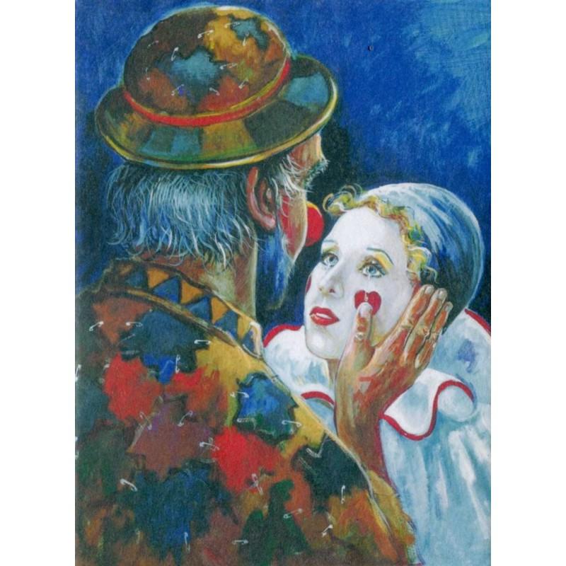 """Art postcard of Beniamino Ajroldi in oleography on cardboard """"Fall in love again"""""""