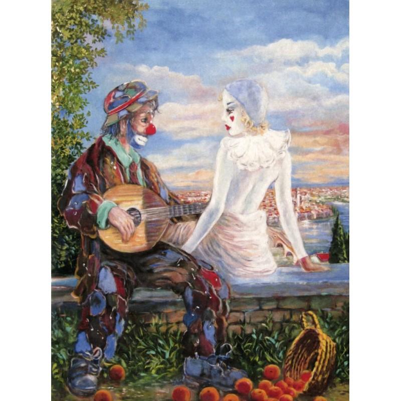 """Art postcard of Beniamino Ajroldi in oleography on cardboard """"Fall in love in Verona"""""""