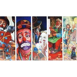 "Set of 5 Rectangular Bookmarks by Beniamino Ajroldi ""Subjects clowns"""